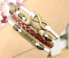 Friendship LOVE bracelet  tan LOVE bracelet  by superbracelet, $4.99