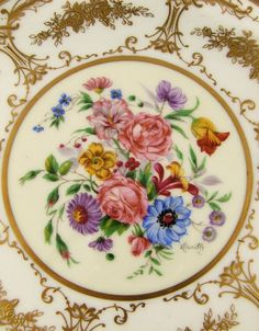 Antique French Limoges Porcelain Hand Painted & Raised Gold Encrusted from theantiqueboutique on Ruby Lane