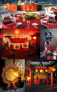 Asian themed party decor can be accessorized with Asian themed folding screen room dividers