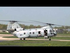 ▶ Boeing Vertol Ch-46 Sea Knight Helicopter landing at Sporty's - YouTube