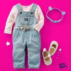 In super soft knit denim, these #babybgosh overalls are as comfy as her favorite leggings! #thisjustin #babyoveralls #knitdenim #oshkoshkids