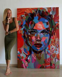 Abstract Portrait Painting, Painting & Drawing, Abstract Art, Arte Pop, Art Amour, Pop Art, L'art Du Portrait, Art Design, Painting Inspiration