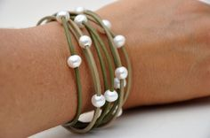 "Leather and Pearl Multi-Strand Green Bracelet, by Christine Chandler Designs. ""FRESH!"" Find it at www.etsy.com/shop/ChristineChandler. $79.00"