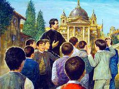 Dibujo de Don Bosco, y en el fondo la Basílica de María Auxiliadora de Turín.