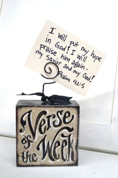 Another acquisition from one of my new favorite Etsy shops: Verse Of The Week Card Holder