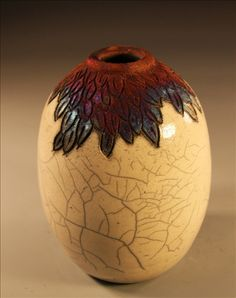 """wisteria"" raku fired bottle by Nita Claise"