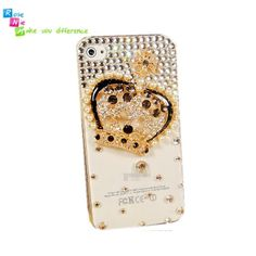 Handmade hard case, back cover for iPhone 4 & 4S: Bling crown (custom are welcome)