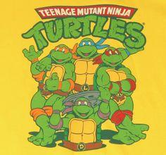 """Heroes in a half shell; Turtle power!"" Orange: Michaelangelo  Blue: Leonardo  Red: Raphael  and my personal favorite, Purple: Donatello"