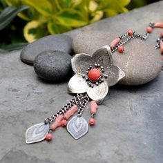 Sterling Coral Necklace Sterling Silver by christinewalsh on Etsy