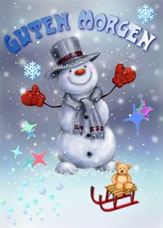 Christmas Scenes, Christmas Snowman, Christmas Ornaments, Good Morning Love, Good Night, German Language, Snow Globes, Cute Pictures, Snoopy