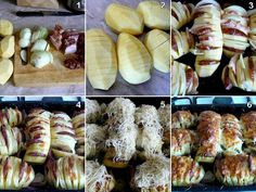 Ingredients: – 6 large baking potatoes – 1 stick of butter – 3 tbsp olive oil – salt and pepper for taste – bacon bits, cheddar cheese, onion sour cream for toppings – parsley for garnish Instructions: Ingredients: – 6 large baking potatoes – 1 Quick Baked Potato, Baked Potato With Cheese, Baked Potato Slices, Baked Potato Recipes, Cheese Potatoes, Veggie Cheese, Cheese Food, Cheddar Potatoes, Butter Cheese