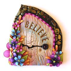 Believe Fairy Door Pixie Portal Miniature Fairy Door by Claybykim