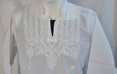 White hand embroidered dress shirt for mens tunic short kurta long sleeved beach… Mens Tunic, Short Shirts, Embroidered Tunic, Summer Looks, Dress Shirt, Kaftan, Formal, Ruffle Blouse, Plus Size