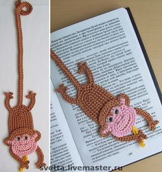 This is why I need to learn how to crochet. Crocheted Monkey Bookmark