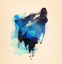 Howling Wolf Watercolor Treeline