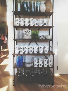 Anthropologie Monogram Mugs Dishes Display