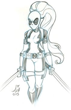 Daily Quick Sketches: Lady Deadpool week3 by mainasha
