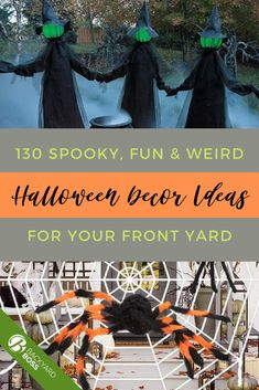 Americans spend nearly $4 BILLION per year on Halloween candy. Why not give trick-or-treaters a spooky challenge to get their share? Whether you're looking for ways to dress up your front porch, back yard, just the doors, or the entire cul-de-sac, you're sure to find something you love in these 130 outdoor Halloween decoration ideas.