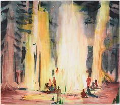 jules de balincourt Fire People, 2013, Oil on panel, 66x76in (167.6x193cm) http://www.julesdebalincourt.com/workview.php