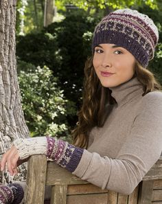 Free Knitting Pattern for Slip Stitch Hat and Mitts - This matching slouchy hat and fingerless mitts are knit with easy slip stitch colowork. The design from Premier Yarns is inspired by Downton Abbey. Two sizes. Rated easy by Ravelrers Mens Scarf Knitting Pattern, Knitted Headband Free Pattern, Fair Isle Knitting Patterns, Knitting Kits, Knitting Designs, Free Knitting, Fingerless Gloves Knitted, Knitted Hats, Slouchy Hat