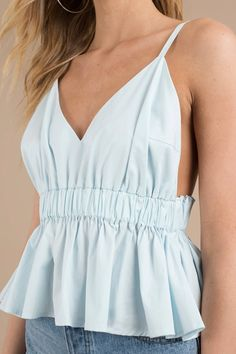 Our cute tank tops come in all of your favorite styles at Tobi: halter tank tops, ribbed, flowy & more! Sorority Recruitment Outfits, Trousers For Girls, Fancy Tops, V Neck Blouse, Fashion 2020, Dress Patterns, Dress To Impress, Shirt Style, Fashion Outfits