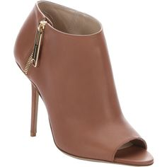 Burberry Antique Rose Leather 'assendon' Peep Toe Stiletto Ankle... (€565) ❤ liked on Polyvore featuring shoes, boots, ankle booties, leather booties, high heel stilettos, peep toe bootie, short leather boots and leather high heel boots