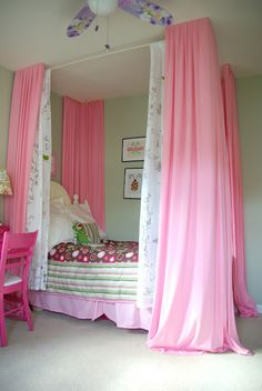DIY bed curtain. Girl bedroom ideas. Turning a little girls dream of a 4 poster bed into reality without getting a new bed. The pink and green combination of the bedroom makes is feel dreamy and fresh. To see more visit- http://ourhousenowahome.com/
