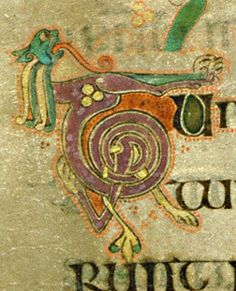 Book of Kells - initial letter T formed by lion