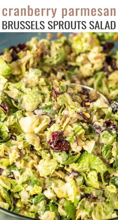 Don't knock brussels sprouts until you've tried this salad! Creamy Brussels Sprouts Salad is full of sunflower seeds, parmesan and cranberries. Ready for the table in 20 minutes. Sprouts Salad, Brussel Sprout Salad, Brussels Sprouts, Soup And Salad, Pasta Salad, Macaroni Salad, Tortellini Salad, Farro Salad, Rice Salad