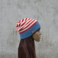 Unisex Patriotic American Hat American Flag Cotton by acrazysheep American Flag, Crochet Hats, Beanie, Unisex, Trending Outfits, Unique Jewelry, Handmade Gifts, Cotton, How To Wear