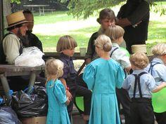 Amish men and children