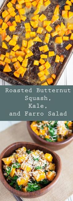 Roasted Butternut Squash, Kale, and Farro Salad - A healthy and hearty ...
