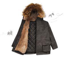 Parkas Sibérie Tweed #bleucommegris  http://www.bleucommegris.com/fr/product/garcon/manteaux-vestes/siberie+tw,tweed+gr,parka-fourrure.html