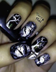 Scary Midnight Halloween Nail Designs. Halloween Nail Art Ideas. http://miascollection.com