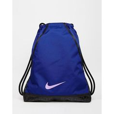 52ee733e56eb8 Nike Gymsack in Blue with Just Do It Trim ( 18) ❤ liked on Polyvore  featuring deeproyalblueblac