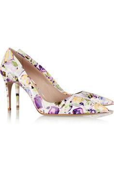 Heel measures approximately 85mm/ 3.5 inches Multicolored patent-leather Slip on