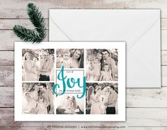 Custom Photo Holiday Card - Christmas Photo Card - Photo Collage - New Years Photo Card - Teal Holiday Card - Joy - Personalized - WH210 by KMThomasDesigns on Etsy