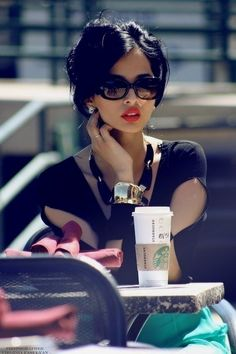 Jet black hair and red lips - classic. #RockerChic #fashion