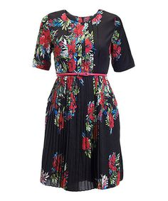 Look at this #zulilyfind! Black Floral Raquel Belted Dress by Darling #zulilyfinds