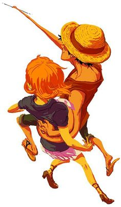 """Let's go!!!"" Nami and Luffy One Piece"