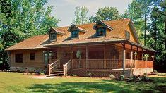 Log Home Design Plan and Log cabin Kits for Brookings, a spacious, generous floor plan.