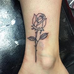 Simple rose outline done today @powerhousetattoo #tattoos #rosetattoo