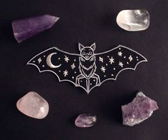 A bat with the night sky on her wings  Iron on patch Digitally embroidered Metallic thread for the moon and stars Wing span is 5 inches  US orders are