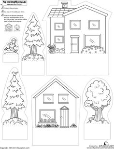 Print, cut, and construct pop-up houses and trees.