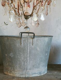 .love the galvanized look with the chandelier!