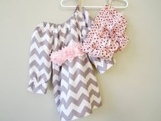 Baby Girl Gift Set Gray and Pink Chevron and by crocodilecrunch, $45.00