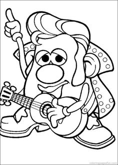 Potato Head The King Of Rock And Roll Coloring Pages - Coloring Ideas Tsum Tsum Coloring Pages, Toy Story Coloring Pages, Barbie Coloring Pages, School Coloring Pages, Cute Coloring Pages, Flower Coloring Pages, Disney Coloring Pages, Animal Coloring Pages, Coloring Books