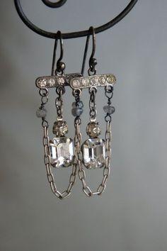 Vintage assemblage earrings rhinestones by frenchfeatherdesigns, $49.00
