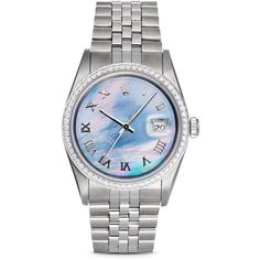 Pre-Owned Rolex Stainless Steel and 18K White Gold Datejust Watch with... ($9,650) ❤ liked on Polyvore featuring jewelry, watches, pre owned jewelry, diamond bezel watches, rolex watches, rolex wrist watch and stainless steel watches