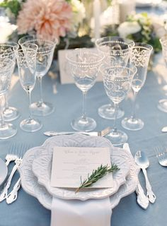 dusty blue table decorations for summer blue wedding Pink Table Settings, Romantic Table Setting, Wedding Table Settings, Place Settings, Blue Bridesmaids, Light Blue Bridesmaid Dresses, Wedding Centerpieces, Wedding Decorations, Serenity